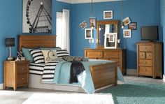 Lea Willow Run 5 Piece Panel Bedroom Set In Rich Toffee Brown Casual rustic style, Horizontal slat panel molding details, Rich Toffee Brown finish, Available in Twin, Full and Queen sizes, Panel Bed 1, Nightstand 1, Dresser 1, Mirror 1, Media Corner Chest 1.