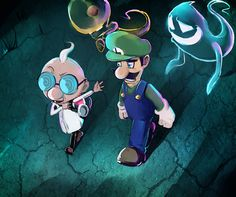 Egadd and Luigi - New Moon by PinkPuffKirby on DeviantArt Luigi And Daisy, Green Warriors, Luigi's Mansion, New Moon, Mario Bros, Print Pictures, Super Mario, Nerdy, Video Games