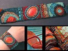 julie powell designs - Bing images Learn Embroidery, Beaded Embroidery, Julie Powell, Embroidery Bracelets, Cuff Bracelets, Peyote Stitch Patterns, Bracelets With Meaning, Herringbone Stitch, Bracelet Crafts