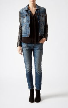 Closed denim jacket with leather sleeves AW 2012.