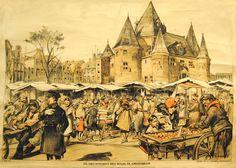 Schoolplaat : Marktleven: Nieuwmarkt met waag te Amsterdam, P. VAN GELDORP