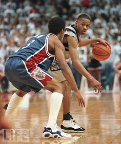 Allen Iverson at Georgetown in his Air Jordan XI