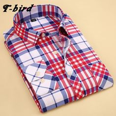 >> Click to Buy << T-Bird New Brand 2017 Men Shirt Striped Lattice Dress Shirt Long Sleeve Slim Fit Camisa Masculina Casual Male Hawaiian Shirts #Affiliate