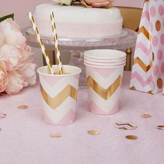 gobelets chevrons roses et or decoration fête anniversaire baby shower fille baptême- pink and gold chevron cups party birthday, baptism, girl baby shower