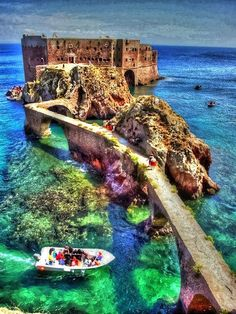 Fort de Saint John the Baptist, Berlengas Islands, Peniche - Portugal. Visited Peniche but didn't see this! Places Around The World, Oh The Places You'll Go, Around The Worlds, Top Places To Travel, Saint John, Dream Vacations, Vacation Spots, Vacation Rentals, Vacation Trips
