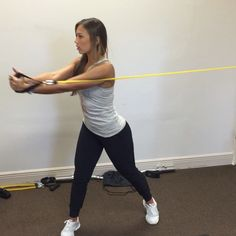 Cable rotations are a great way to target your obliques. Be sure to keep your arms straight and rotate through the core squeezing at the end then control your return to start. 3 sets of 15 reps on each side. I'm using the #fitandthickresistancebands available on Getfitandthick.com