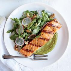 Salmon with Walnut-Avocado Guacamole Recipe   CookingLight.com