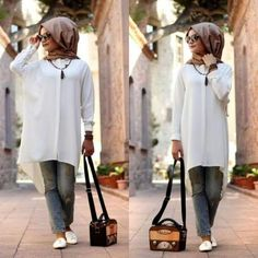 long white shirt tunic hijab- Hijabi fashion Bloggers Street looks http://www.justtrendygirls.com/hijabi-fashion-bloggers-street-looks/