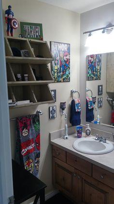 Marvel Superhero Bathroom! Superhero Boys Room, Superhero Bathroom, Batman Room, Kids Bedroom Dream, Cool Kids Bedrooms, Shared Bedrooms, Marvel Bedroom, Avengers Room, Little Boys Rooms