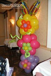 14. Triple Flower Balloon Column with Butterfly