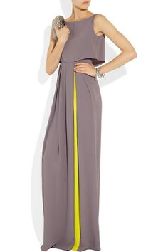 Thistle-gray and neon-yellow lightweight crepe Top overlay, pleated skirt, partially lined Concealed zip fastening along back 32% silk, 68% acetate; lining: 100% silk Dry clean Designer color: Thistle/ Chartreuse