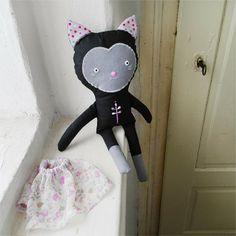 doll black cat Rosemary / Břichopas toys