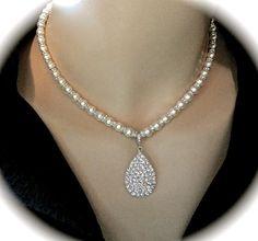 Pearl necklace  Crystal rhinestone teardrop by QueenMeJewelryLLC