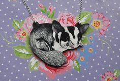 Sugar Glider Necklace Illustrated Wooden by BattlekatsBoutique