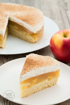 Apple cream cake with pudding- Apfel-Sahne-Torte mit Pudding Apple cream pie with pudding - Magnolia Bakery Banana Pudding, No Bake Banana Pudding, Banana Pudding Recipes, Pudding Desserts, Dessert Recipes, Pudding Cookies, Pudding Cake, Pudding Shots, Baked Banana