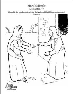 The Story Of Mary Leaping For Joy Coloring Page Audio Bible