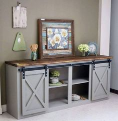 To make it greater, consider making a DIY TV stand because it will add an upscale look to your TV as well as providing a better viewing pleasure without. Decor, Furniture, Home, Pallet Tv Stands, Diy Furniture, Barn Door Tv Stand, Home Furniture, Barn Door Console, Home Decor