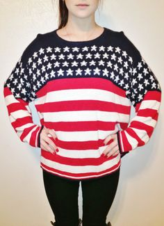 Vintage American Flag Sweater. $50,00, via Etsy.