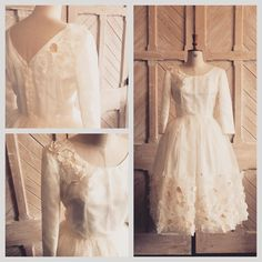 Silk organza flower embellished Iris dress- modern with a vintage feel #bride #wedding #silk #organza #vintage #bespoke #dress #taradeighton #iris