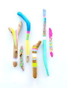 Painted Sticks - 6 Piece Collection, OOAK - Neon Triangles, Stripes, Chevron, Rainbow - Braid, Feather - Beach Decor, Electric, Driftwood.