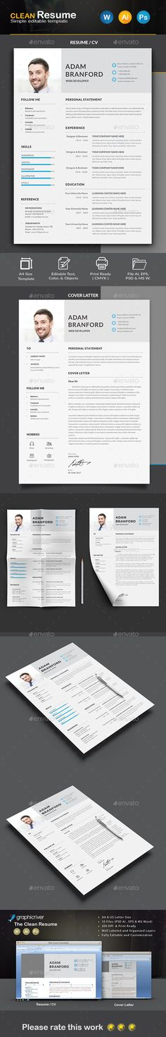 #Resume - Resumes #Stationery Download here: https://graphicriver.net/item/resume/19684471?ref=alena994