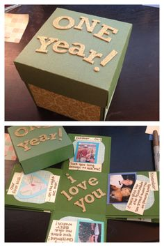 Did the exploding box for my one year anniversary with my boyfriend. It was surprisingly easy! I also put a gift card in the box. I may love it more than he does haha    Here are the instructions, I changed the dimensions listed in the link to make the box bigger: http://glitteradventure.blogspot.com/2006/11/exploding-box-class.html?m=1