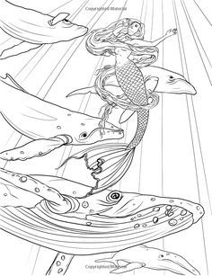 Mermaids - Calm Ocean Coloring Collection - Selina Fenech - Mermaid Myth Mythical Mystical Legend Mermaids Siren Fantasy Mermaids Ocean Sea Enchantment Sirens Meerjungfrau sirène sirena Русалка pannu havfrue zeemeermin merenneito syrenka sereia sjöjungfrun sellő Coloring pages colouring adult detailed advanced printable Kleuren voor volwassenen coloriage pour adulte anti-stress kleurplaat voor volwassenen Line Art Black and White