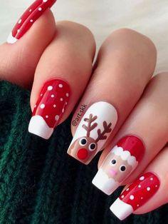 Christmas Gel Nails, Xmas Nail Art, Christmas Nail Art Designs, Holiday Nails, Christmas Makeup, Nail Designs For Christmas, Easy Christmas Nail Art, Snowman Nail Art, Red Nail Art