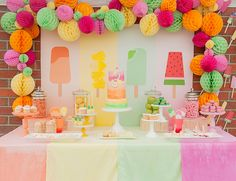 popsicle + citrus themed kids birthday party // colorful dessert table