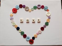 Button heart canvas with scrabble letters - £15.00 Farmers wives cards and crafts