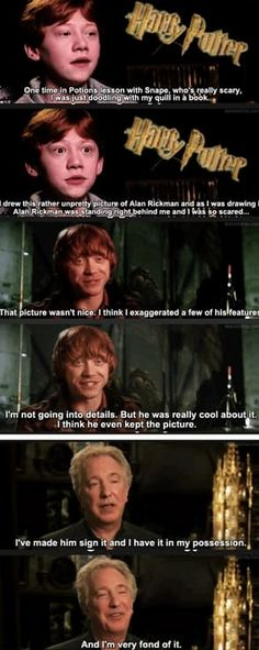 Funny pictures about Rupert Grint And Alan Rickman. Oh, and cool pics about Rupert Grint And Alan Rickman. Also, Rupert Grint And Alan Rickman photos. Harry Potter Cast, Harry Potter Quotes, Harry Potter Love, Harry Potter Universal, Harry Potter Fandom, Harry Potter Memes Clean, Lily Potter, James Potter, Lord Voldemort