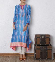 Turquoise Shibori Dyed Silk Kurta