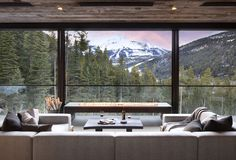This fabulous modern-rustic home is designed by Studio H Design, located in the private community of Yellowstone Club in Big Sky, Montana. Mountain Home Exterior, Modern Mountain Home, Mountain Homes, Yellowstone Club, Summit View, Rustic Houses Exterior, Modern Rustic Homes, H Design, Chandelier In Living Room