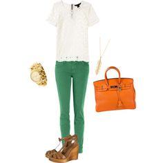 green skinny jeans!