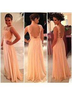 A-line / Princess Bateau Chiffon Lace Sleeveless Backless Prom Dresses