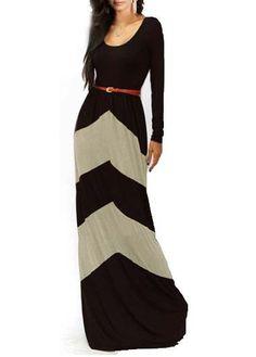 Long Sleeve Round Neck Color Block Maxi Dress