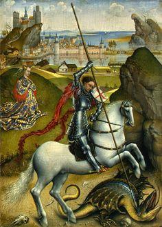 Saint George and the Dragon. Rogier van der Weyden. 1432-35. National Gallery of Art