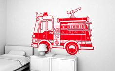 firetruck (XXL) wall decal - children's wall stickers for baby nursery or kids room by E-Glue studio