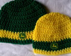 John Deere Green or Yellow Baby   Infant handmade crocheted hat size  preemie thru Adult. d0bf1a6494ce