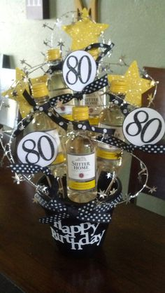 Another Gift Basket I Made For A Friends Dads 80th Birthday Decorations