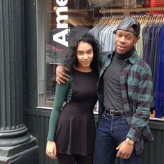 Tiffany and Stephan in New York City wears color coordinated forest outfits. #AmericanApparel