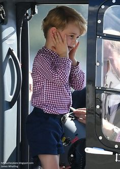 Prince George looks thrilled by the helicopter. Hamburg Germany. July 21 2017