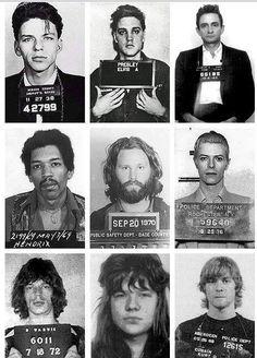 De cima para baixo, da esquerda para a direita: Frank Sinatra, Elvis Presley, Johnny Cash, Jimi Hendrix, Jim Morrison, David Bowie, Mick Jagger, Janis Joplin e Kurt Cobain, todos vendo o Sol nascer quadrado :|
