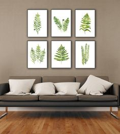Fern Plant Art Print Botanical Living Room Wall Decor, Green Kitchen Illustration Chart set 6 Leaf Watercolour Painting Abstract Home Garden