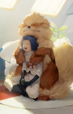 = = a-shacho arcanine backlighting bangs black footwear black gloves blue hair boots breath closed mouth clothes writing cup fang out fangs gen 1 pokemon gloves green tea hair between eyes hair intakes happy highres hug hug from behind indian style in Pokemon Memes, Pokemon Fan Art, Pokemon Go, James Pokemon, Pokemon Team Rocket, Plant Pokemon, Pokemon Stuff, Pokemon Fusion, Pokemon Cards