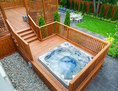 15 stunning hot tub landscaping ideas Hot Tub Garden, Hot Tub Backyard, Tropical Hot Tubs, Hot Tub Surround, Tub Enclosures, Landscaping Ideas, Patio Ideas, Outdoor Ideas, Backyard Landscaping