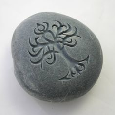 Celtic Tree Engraved Grey Stone Celtic Symbol Paperweight