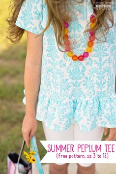 Free Sewing Pattern alert: This easy Peplum Top is perfect for summer and the free T-shirt pattern comes in sizes 3 to 12!