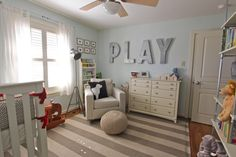 Love the PLAY. Thinking cardboard letters from hobby sprayed with metallic spray paint.... Cool for game room.