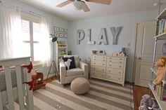 rowan's nursery / mrs. frazier - love the PLAY on the wall!